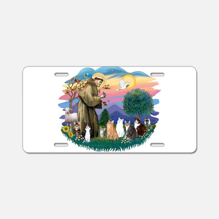St Francis (ff)-7 Cats Aluminum License Plate