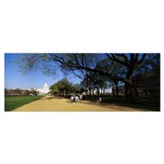Tourists walking in a public park, The Mall, Capit Framed Print