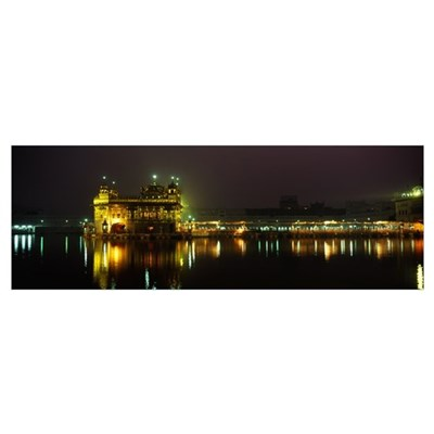 Temple lit up at night, Golden Temple, Amritsar, P Poster