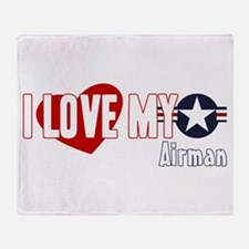 I Love My Airman Throw Blanket