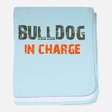 Bulldog IN CHARGE baby blanket