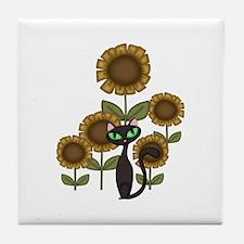 Sunflower Black Cat Tile Coaster