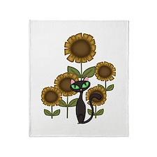 Sunflower Black Cat Throw Blanket