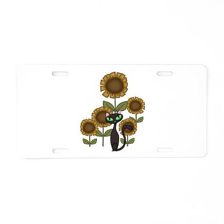 Sunflower Black Cat Aluminum License Plate