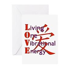 Living, One,Vibrational,Energy Greeting Cards (Pk