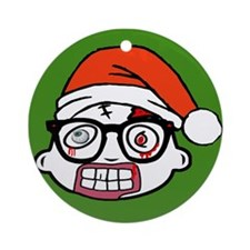 Zombie Nerd. Holiday Ornament (Round)
