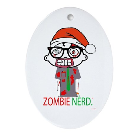 Zombie Nerd. Holiday Ornament (Oval)