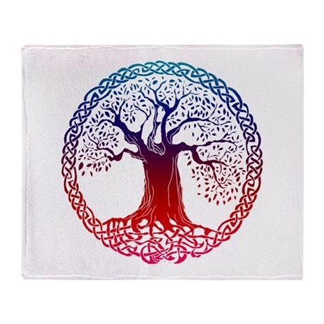Sunset Celtic Tree Throw Blanket