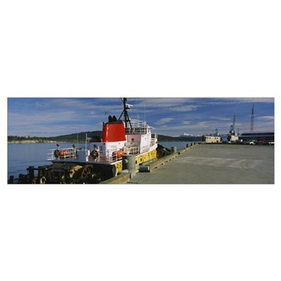 Tug boat at a dock, Guemes Channel, Guenes Island, Poster