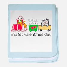 1st Valentines Day Train baby blanket