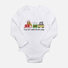 1st Valentines Day Train Long Sleeve Infant Bodysu