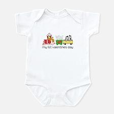 1st Valentines Day Train Infant Bodysuit