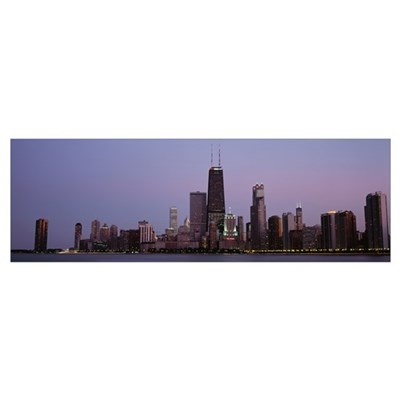 Night skyline Chicago IL Poster