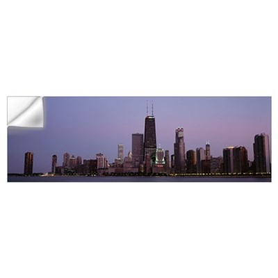 Night skyline Chicago IL Wall Decal