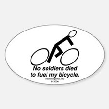 no soldiers died Oval Decal