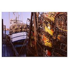 Crab Pots on Boats, Humboldt Bay, Eureka, Californ