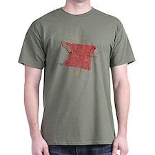 Philadelphia Men's T-Shirt Red on Military Green
