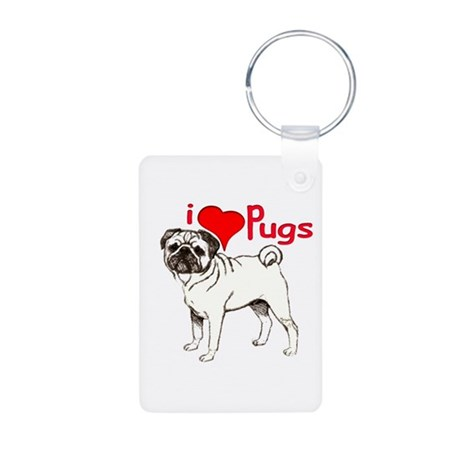 pug love Aluminum Photo Keychain