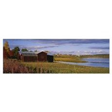 House at the waterfront, Lovikka, Torne River, Nor Poster
