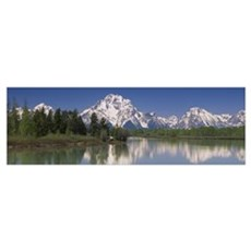 Reflection of a mountain range in water, Oxbow Ben Framed Print