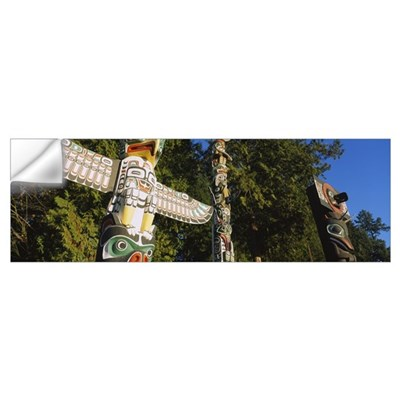 Low angle view of three totem poles, Stanley Park, Wall Decal