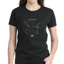 Philadelphia Women's T-Shirt Black on Violet