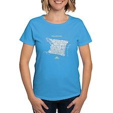 Philadelphia Wom's T-Shirt White on Caribbean Blue