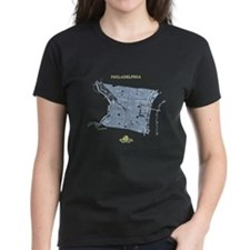 Philadelphia Women's T-Shirt Blue on Black