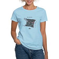 Philadelphia Women's T-Shirt Black on Light Blue