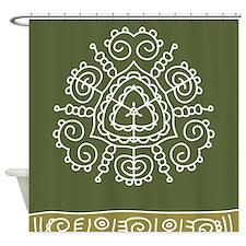 Green Tribal Shower Curtain