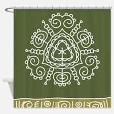 Green Tribal Shower Curtain