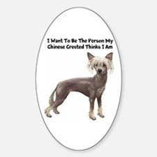 Chinese Crested Sticker (Oval)