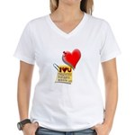 Valentine Heart and Love Not Women's V-Neck T-Shir