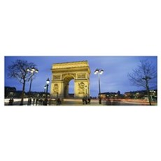 Tourists walking in front of a monument, Arc de Tr Framed Print