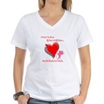 Wanted My Heart On My Sleeve Women's V-Neck T-Shir