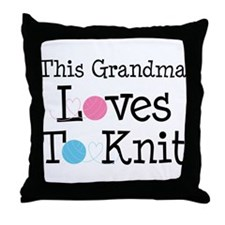 Grandma Loves Knitting Throw Pillow