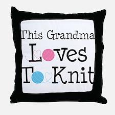 Grandma Loves Knitting Throw Pillow