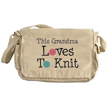 Grandma Loves Knitting Messenger Bag