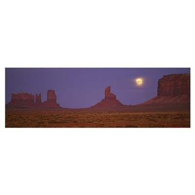 Moon shining over rock formations, Monument Valley Poster