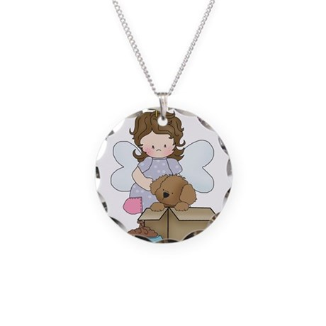 Angel Gracie and Mr. Woof Necklace Circle Charm