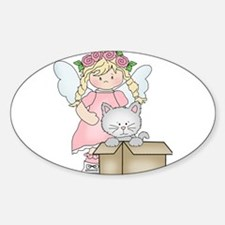 Angel Katie and Ms. Meow Sticker (Oval)