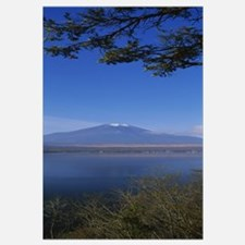Lake in front of a mountain, Mt Fuji, Oshino, Mina