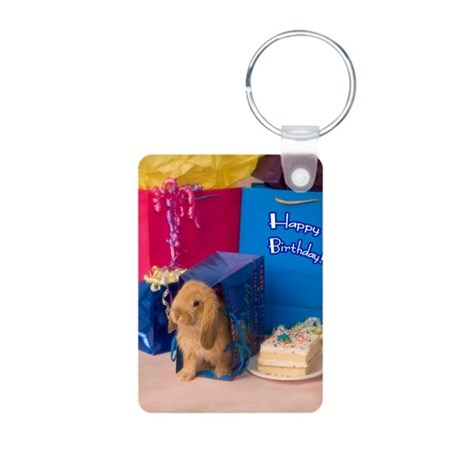 Birthday Bunny Aluminum Photo Keychain