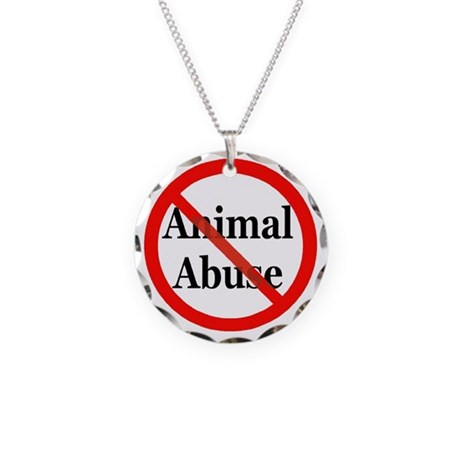 No Animal Abuse Necklace Circle Charm
