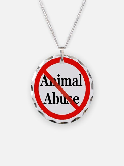 No Animal Abuse Necklace Circle Charm