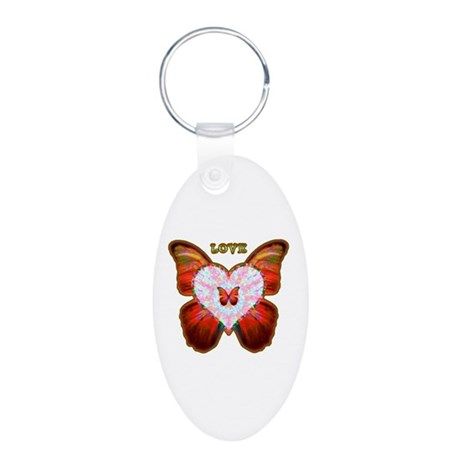 Wings of Love Aluminum Oval Keychain