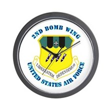 2nd Bomb Wing with Text Wall Clock