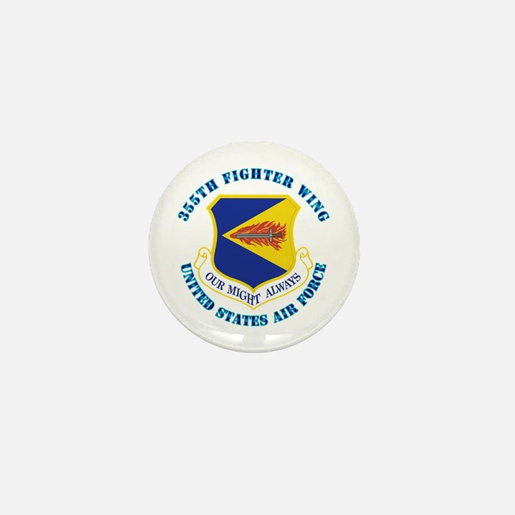 355th Fighter Wing with Text Mini Button