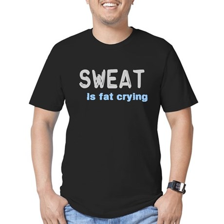 Sweat Is Fat Crying Men's Fitted T-Shirt (dark)