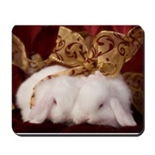 Christmas Bow Bunnies Mousepad